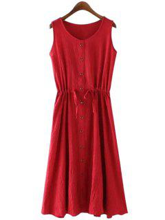 Solid Color Single-Breasted Sundress - Wine Red M