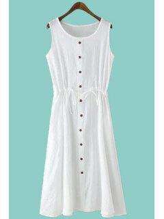 Solid Color Single-Breasted Sundress - White M