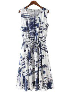 Print Linen Scoop Neck Sundress - Blue S