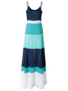 Spaghetti Strap Color Block Sleeveless Maxi Dress - Light Blue S