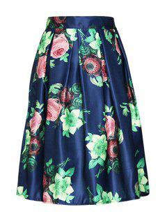 Floral Print Elastic Waist Ball Gown Skirt - Blue
