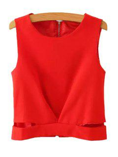 Solid Color Back Zipper Openwork Tank Top - Red M