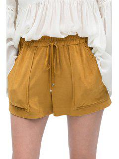 Elastic Waist Tie-Up Pocket Shorts - Khaki Xs