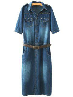 Denim Turn-Down Collar Short Sleeve Dress - Purplish Blue L
