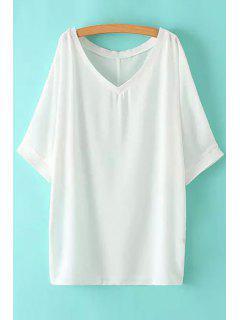 V-Neck Solid Color Half Sleeve Dress - White L