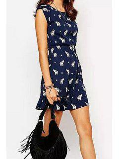 Elephant Print Sleeveless Dress - Cadetblue M