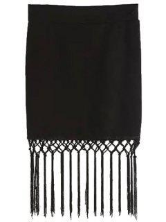 Tassels High Waisted Black Skirt - Black S
