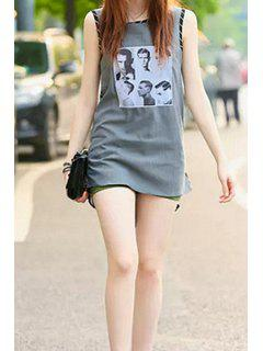Figure Print Stripe Sleeveless Dress - Gray S