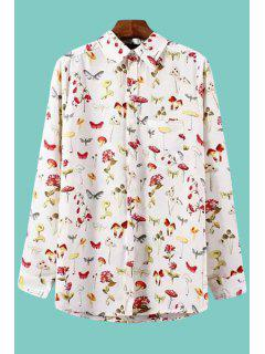 Insect Floral Print Long Sleeve Shirt - White L