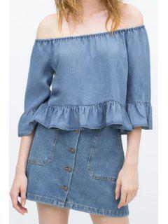 Slash Neck Blue Denim Blouse - Blue L