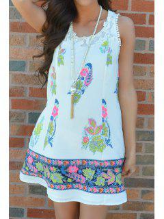 Round Neck Totem Print Lace Spliced Dress - White Xl