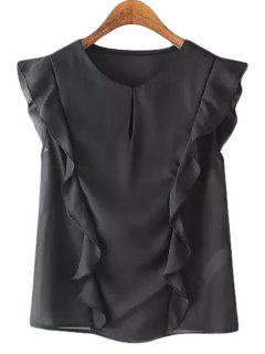 Jewel Neck Solid Color Flounce Splicing Tank Top - Black M