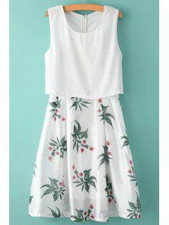 Scoop Neck Floral Print Back Zipper Dress - White M