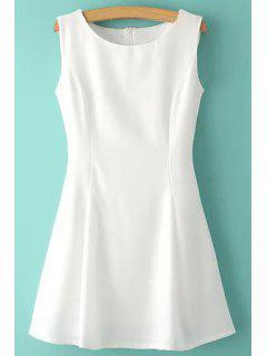 Jewel Neck Solid Color Ruffle Sleeveless Dress - White L
