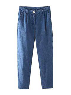 Bleach Wash Loose-Fitting Jeans - Deep Blue S
