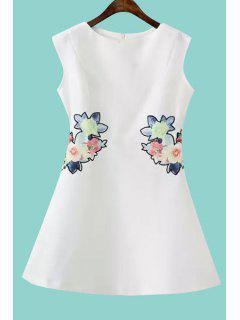Floral Embroidery A Line Sundress - White L