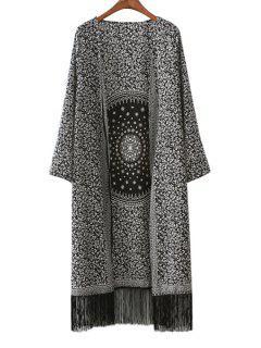 Long Sleeve Print Tassels Coat - Black L