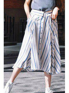 Striped Two Pockets Single-Breasted Bohemian Skirt - Blue And White M