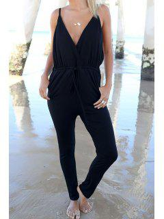 Plunging Neck Drawstring Design Black Jumpsuit - Black Xl