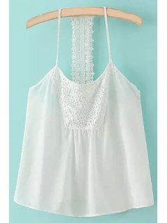Spaghetti Strap Lace Splicing Backless Tank Top - White S