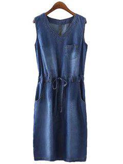 Bleach Wash Tie-Up Pocket Denim Sleeveless Dress - Purplish Blue S