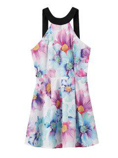 Flower Print Sleeveless Backless Dress - Light Blue S