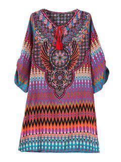 Vintage Print V Neck 3/4 Sleeve Dress - Rose M