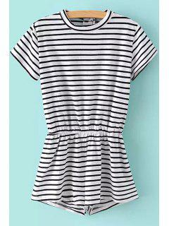 Stripe Elastic Waist Short Sleeve Romper - Black M