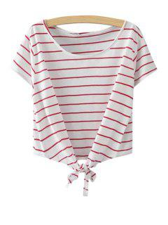 Stripe Tie Knot Short Sleeve T-Shirt - Red