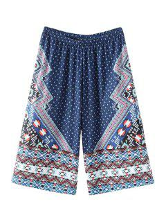 High-Waisted Wide Leg Printed Capri Pants - Blue