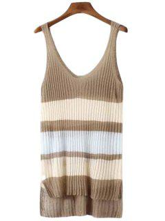 Color Block Stripe High Low Sleeveless Sweater - Light Coffee