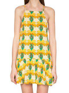 Full Flowers Print Spaghetti Strap Dress - Yellow M