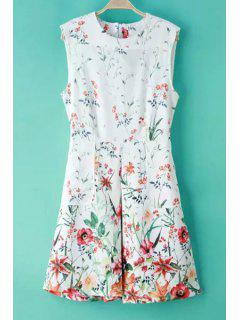 Round Neck Floral Print Ruffled Zippered Dress - White S