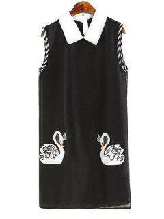 Turn-Down Collar Swan Embroidery Mini Dress - Black M