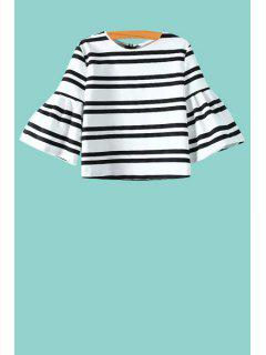 Puff Sleeve Striped Zippered Blouse - White And Black S