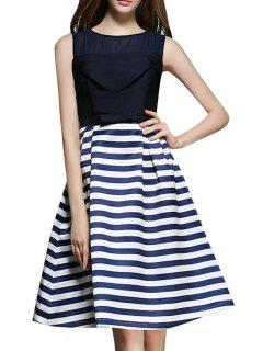 Stripe Spliced A Line Midi Sundress - Purplish Blue M