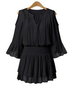 Solid Color 3/4 Sleeve Hollow Dress - Black 5xl