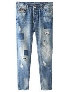 Vintage Patch Broken Hole Jeans - Deep Blue Xs