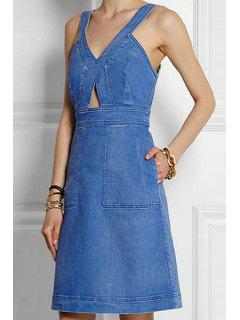 Solid Color Denim Sleeveless A Line Dress - Purplish Blue Xl