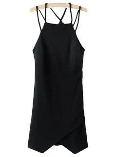 Irregular Hem Spaghetti Strap Dress - Black M