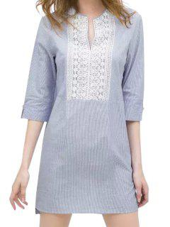 Lace Splicing Crochet Flower Denim Dress - Light Blue M