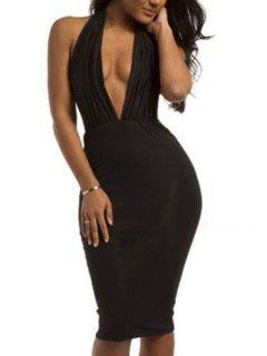 Black Plunging Neck Sleeveless Midi Dress - Black Xl