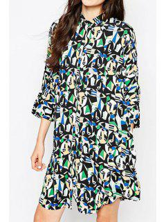 Abstract Print 3/4 Sleeve Shirt Dress - Black Xl