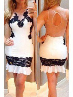 Black Floral Lace Splicing Sleeveless Dress - White L