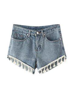 Straight Leg Bleach Wash Denim Laciness Shorts - Light Blue S