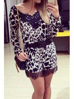 Lace Splicing Leopard Pattern Long Sleeve Romper - Black Xl