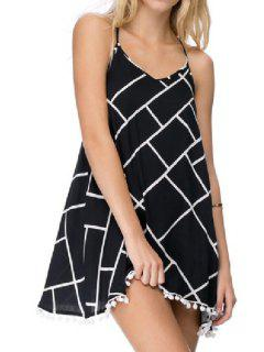 Spaghetti Strap Checked A-Line Backless Dress - Black M
