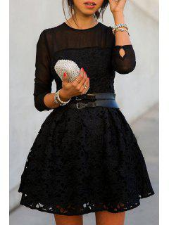 See-Through Solid Color Lace Long Sleeve Dress - Black S