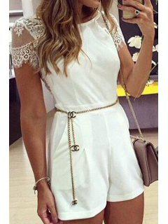 See-Through Lace Splicing Short Sleeve Romper - White Xl