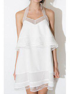White Halter Voile Backless Dress - White 2xl